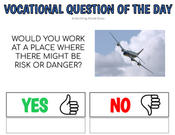 Vocational Question Of The Day w Visuals for Special Education