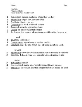 Vocational Skills Study Guide 1