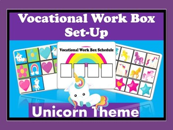 Vocational Work Box/Basket Set Up- Unicorn Theme