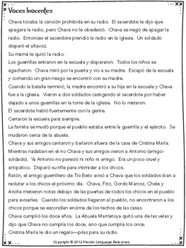 Voces Inocentes Film Study Packet (upper levels)