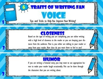 [Voice] 6 Traits of Writing Rubric Fan- Reference Tool