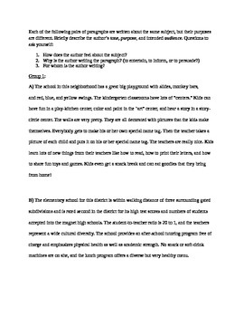 Writing: Voice, Audience, and Tone Examples and Worksheet
