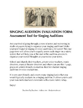 Singing Audition Evaluation: Great for Auditions & Assessment of Singers