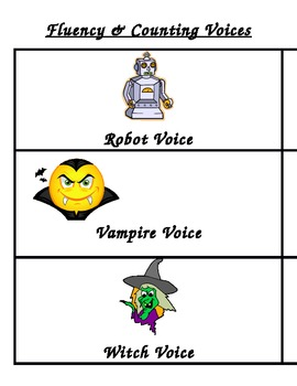 Voice Cards for Counting & Fluency Stations