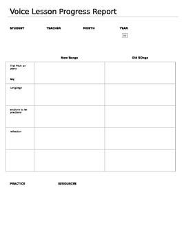 Voice Lesson Progress Report