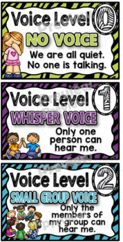 Voice Level Chart Cards Set {Animal Themed}