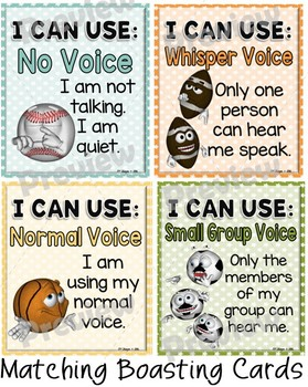 Voice Level Chart Cards Set and Brag Tags {Sports Theme}