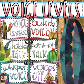 Voice Level Chart Posters Classroom Management Rustic Farmhouse Shabby Chic