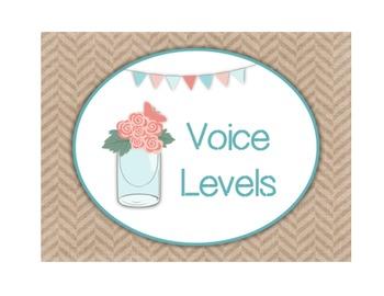 Voice Level Chart - Shabby Chic & Burlap Theme