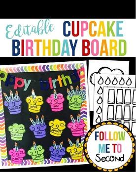 Editable Cupcake Birthday Bulletin Board for the Classroom