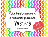 Voice Level, Classwork, and Homework Procedure Posters and Labels