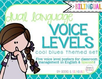Voice Level Management Chart {Bilingual} Cool Blues