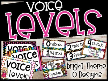 Voice Level Poster and Cards - Bright Rainbow Theme