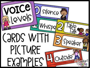 Voice Level Poster and Cards - Burlap Theme