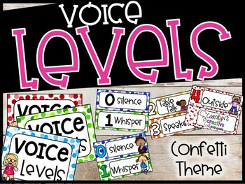 Voice Level Poster and Cards - Confetti Theme