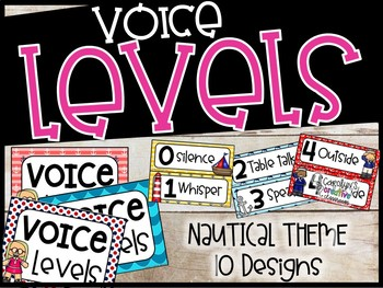 Voice Level Poster and Cards - Nautical Theme