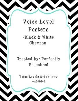 Voice Level Posters (Black and White Chevron)