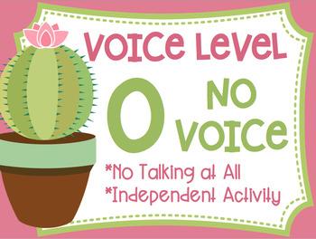 Voice Level Posters Cactus Succulent Theme Class Management