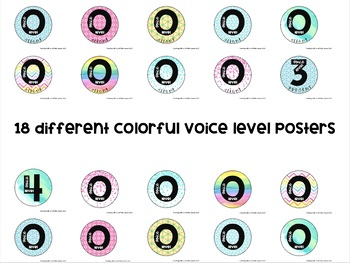 Voice Level Posters - Colorful/Watercolor Theme - 18 Different Styles