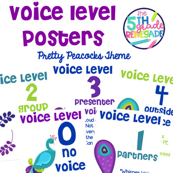 Voice Level Posters Pretty Peacocks Theme Class Management