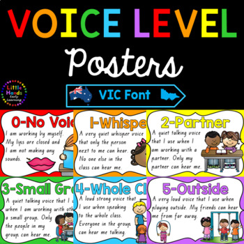 Classroom Voice Level Posters - Victoria Font
