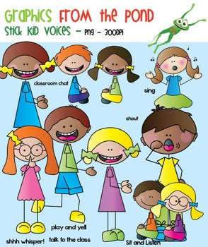 Voice Level Stick Kids - Clipart for Teaching Resources