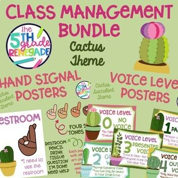 Voice Level and Hand Signal Cactus Theme Bundle