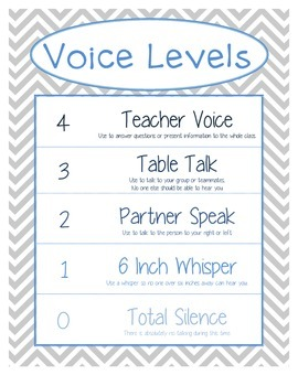 Printable: Voice Levels Chart - Gray and Blue Chevron