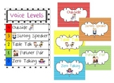 Voice Levels Chart for Classroom Management - Stripes and Polka Dots theme
