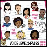 Voice Levels Kids Clip Art - Faces Only