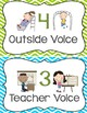 Classroom Voice Level Chart - Lime Green, Turquoise, and Grey Theme