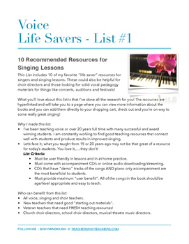 Voice Life Savers #1 - 10 Voice Resources