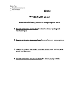 Voice Printable Writing Activity