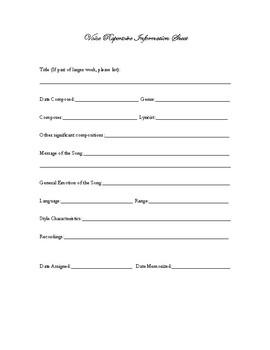 Voice Repertoire Information Sheet