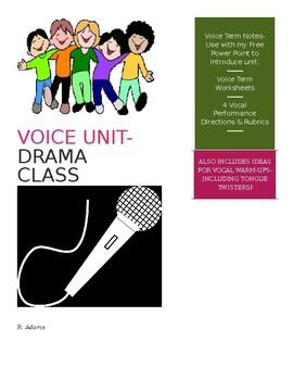 Voice Unit- Drama Class! Performance Directions & Rubrics-Radio Commercial!