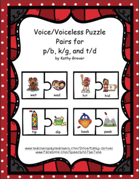 Voice/Voiceless Puzzle Pairs for p/b, k/g, and t/d