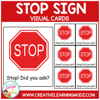 Stop Sign Cards Special Education Autism