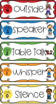 Voice level posters, pocket chart labels, and emergent reader