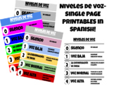 Voice levels chart IN SPANISH! Single page printables!