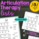 Articulation Therapy Sound Lists for Voiced TH {featuring coarticulation}