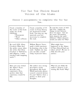 Voices of the Alamo Choice Board
