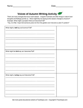 Voices of Autumn Writing Assignment.  A great writing assignment for Fall.