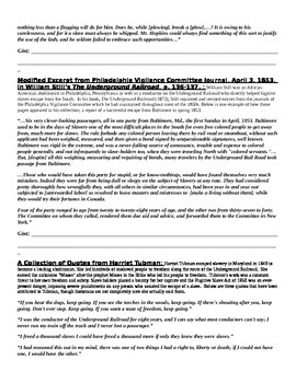 Voices of the Abolition Movement: Common Core Summary/Quotation Activity