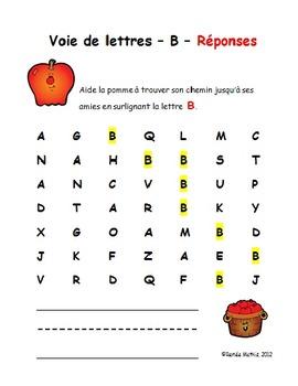 Voies de lettres (Letter Recognition in French)