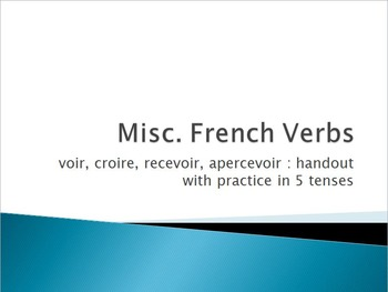 Voir, Croire, Recevoir & Apercevoir : Handout with practice in 5 tenses