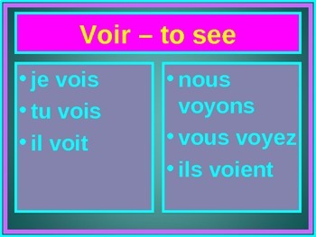 Voir Present tense French verb PowerPoint
