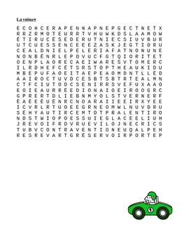 Voiture (Car in French) word search