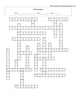 Volcanic Eruptions Crossword with key