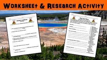 Volcanic Landforms Lesson with Worksheet, Power Point, and Research Activity