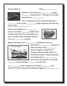 Volcanic Material Note Taking Guide